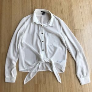 Forever 21 sheer front tie blouse w gold buttons